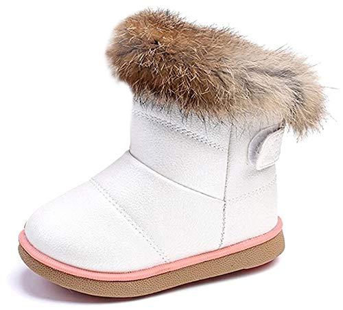 KVbaby dziewczęce buty zimowe z ciepłą podszewką, dziecięce, wodoszczelne, ze skóry PU, buty dziecięce, miękkie podeszwy, buty wsuwane, białe, rozmiar 20 UE = etykieta 21