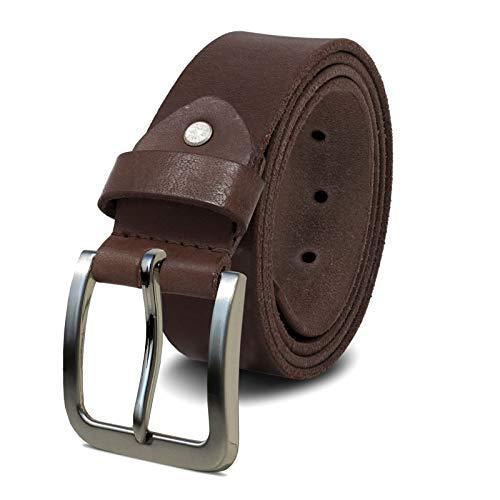 ROYALZ Cinturón de cuero para hombre cuero de búfalo de 4mm, vintage para vaqueros-cinturón de hombre con hebilla de espino de 38mm, tamaño:90, Color:Marrón oscuro - hebilla cepillada