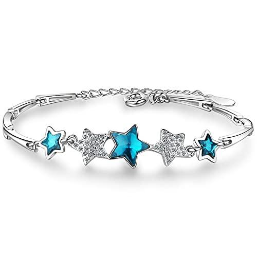 QiKun-Home Pulsera eterna de Estrella pentagonal Azul de Plata de Ley 925 para Mujer, joyería de Cristal de circonita apilable Hecha a Mano para Mujer, bisutería Azul + Plata