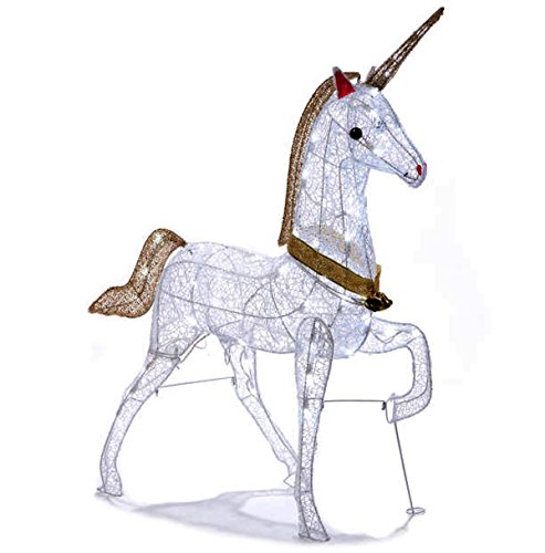 Christmas Glitter Unicorn Lighted Yard Art Decoration Indoor / Outdoor 40 Inch