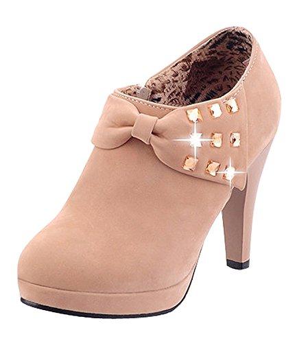 Minetom Damen Klassisch Vintage Schuhe Pumps High Heels Ankle Boots Brautschuhe Party mit Schleife Strass Khaki EU 35