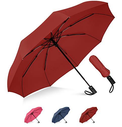 Rain-Mate Compact Travel Umbrella - Windproof, Reinforced Canopy, Ergonomic Handle, Auto Open/Close (Red)