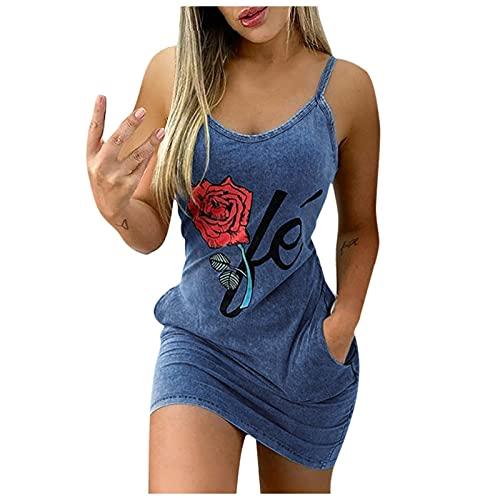 Womens Dress, SHOBDW Summer Dress Vest Flower Printed Waist Casual Sleeveless Dresses Solid V Neck Sling Short Dress Beach Sexy Slim Mini Dress with Pocket(#2 Blue,M)