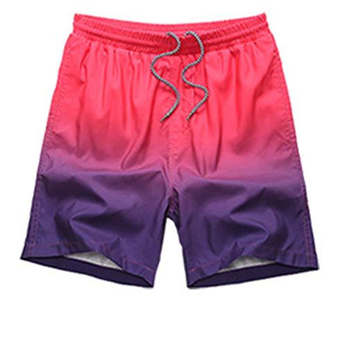 YUNSW Strandhose Sommer Herren Badehose Mit Farbverlauf, Lose, Atmungsaktive Shorts Von Hot Spring, Lässige, Schnell Trocknende Fünf-Punkt-Shorts