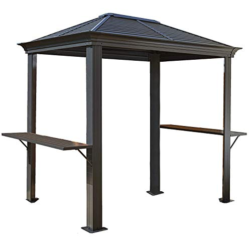 WSN Hardtop Grill Gazebo, with Shelving Outdoor Sun Shelter, 5' x 8' Dark Grey