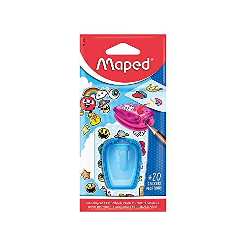 Maped Stick'Art Pencil Sharpener and Stickers (Assorted Colours)