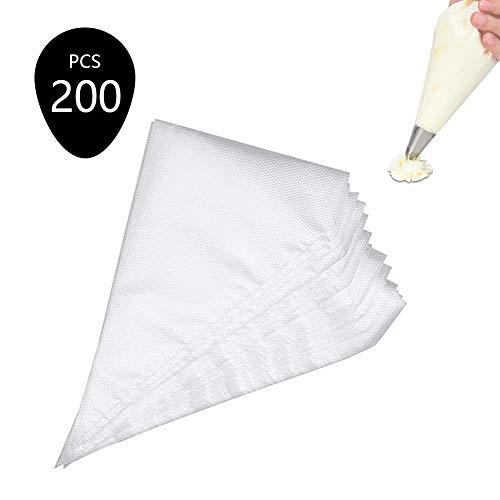 Bolsas de plástico desechables, para decoración de pasteles, para nata, helado, mermelada, galletas, 200 piezas / transparente