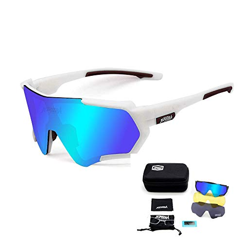 TOPTETN Gafas de Sol Deportivas polarizadas Protección UV400 Gafas de Ciclismo con 3 Lentes Intercambiables para Ciclismo, béisbol, Pesca, esquí, Funcionamiento (Blanco azul)