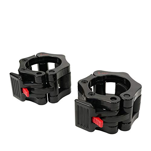 Sunny Health & Fitness Locking Collar Clamps with Quick Release for Olympic Barbells for Pro Training , Black