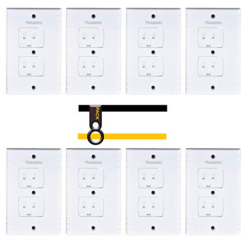 ModaBebis Universal Self-Closing Electrical Outlet Covers, Child Safety Guards Socket Plugs Protector, Flame Retardant ABS, BPA Free, Hardware Included (8 Pack)
