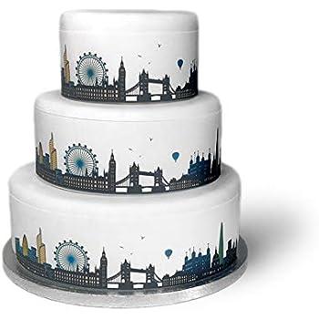 Enjoyable Top That Edible Decor Sheet London City Skyline Border Ribbon Personalised Birthday Cards Vishlily Jamesorg