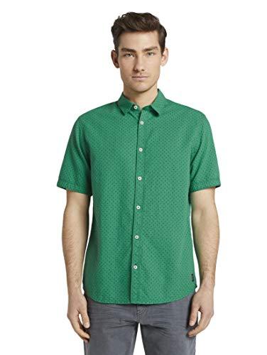 TOM TAILOR Herren Blusen, Shirts & Hemden Gemustertes Kurzarm-Hemd Green Tonal Cactus Design,S