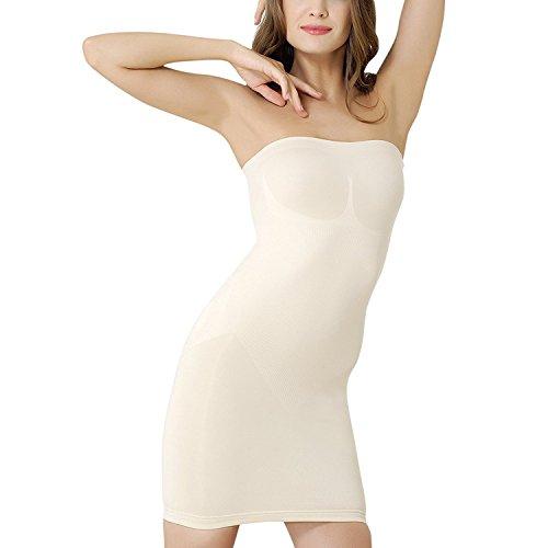 Formeasy Figurformendes Damen Miederkleid Trägerlos, Bauchweg Unterkleid, Body Shaper, stark Formende Unterwäsche Formwäsche (M,Beige)