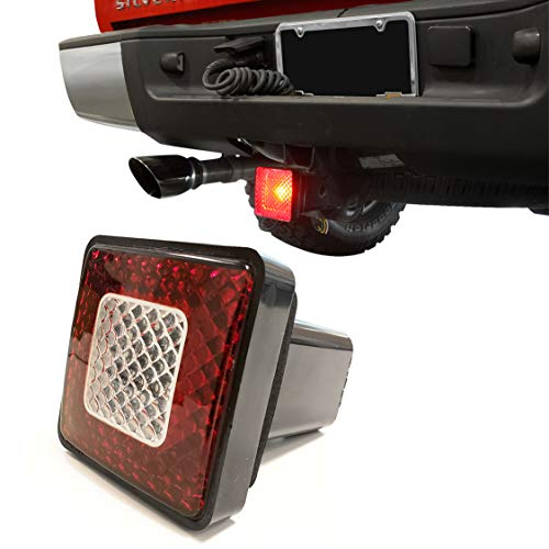 """TC Sportline 3"""" 80 LED Brake Driving Lamp with Reverse Light, Truck SUV Trailer Towing Hitch Receiver Cover for 2"""" Class III Hitch"""
