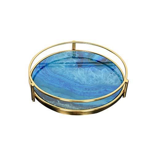 Luce Metallo Agata Blu Modello Europeo Pietra Rotonda Cosmetici cassetto Gioielli tavolino Vassoio di Storage Display Ornamenti