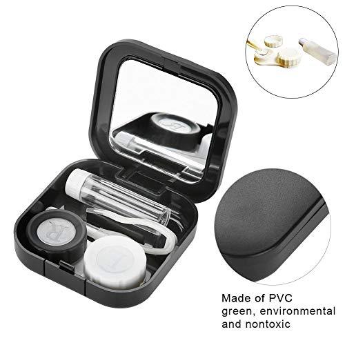 Kontaktlinsenbehälter set, Kontaktlinsen Box eingebauter Spiegel für Zuhause und Reisen, umfassen Pflege Flüssigkeitsflasche Doppelte Anschlussbox Pinzette Stick(Schwarz)