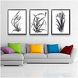 Daapplok Impressions de Peinture Affiche Photos 3 pièces Ensemble Toile orchidée Traditionnelle Couloir Fleur Printemps décoration Classique Salon Mur Art Cadre d'étude