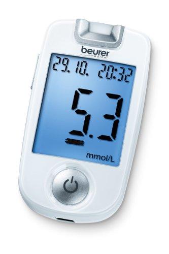 Beurer GL 40 Blutzuckermessgerät mmol/L (Weiß, Einfache Blutzuckermessung durch beleuchteten Teststreifen-Einfuhrschacht und Starter-Set)
