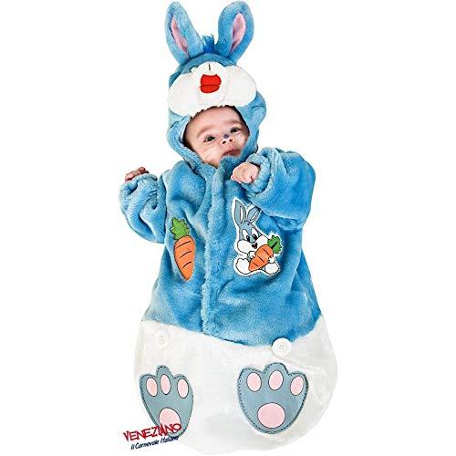 Babyshop Baby-Plüsch-Hasenkostüm hellblau 3177 ab Geburt, mit Kapuze, Klettverschluss