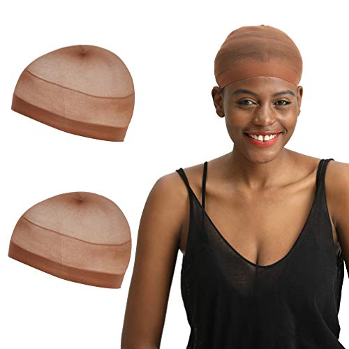 REECHO 2 Pack Wig Caps for Women Men One-Size Halloween Costume Cosplay Accessory Stocking Nylon Color: Natural Nude Beige