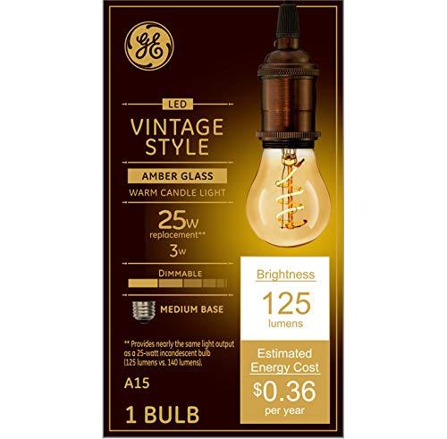 GE Lighting 36501 Bombilla LED regulable estilo vintage 3 (25 W, 125 lúmenes, con cristal ámbar A15, 1 paquete, blanco suave)