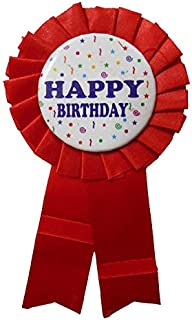 DBC Retail Happy Birthday Ribbon Badge for Birthday Party (Red, Pack of 1)