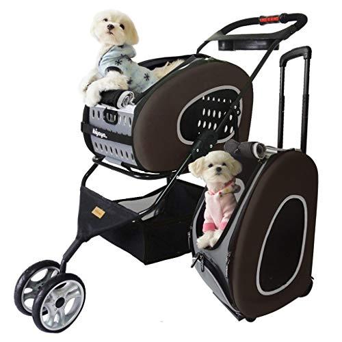 Qazxsw Pet Stroller, Multifunktions Katze und Hund Spaziergänger Haustier-Trolley-Tasche Rucksack Faltbare Verschiedene Möglichkeiten für die Verwendung Leichtbau,Schwarz,47 * 95 * 91cm