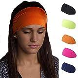 Handcess Yoga-Stirnbänder, elastisch, für Damen und Mädchen, Schwarz, 5 Stück
