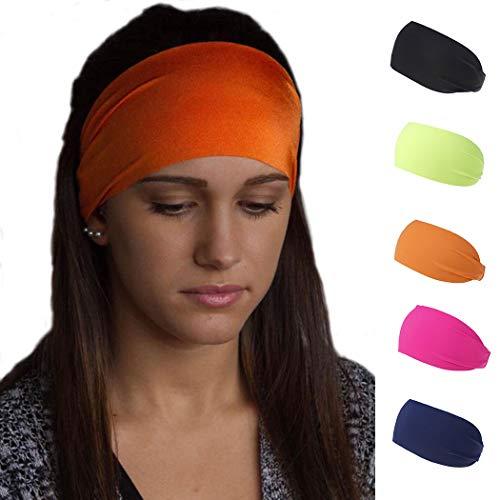 Handcess Yoga-Stirnbänder, elastisch, Schwarz, für Laufen, Sport, Kopfwickel, breite Schweißbänder für Frauen und Mädchen (5 Stück)