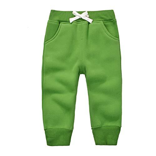 mini eggs Kids Pants Drawstring Elastic Toddler Cotton Sweatpants Winter Trousers Thick Jogger Pants 4 Years Green