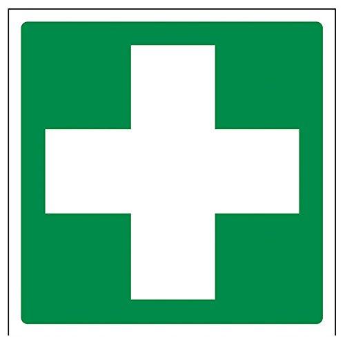 vsafety 31028am-r'primeros auxilios logotipo' primeros auxilios General señal, plástico rígido, cuadrado, 150mm x 150mm), color verde