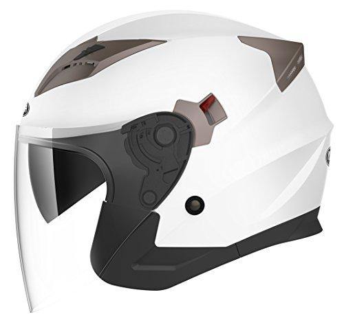 Jethelme Rollerhelm Sturzhelm Chopper Helm - YEMA YM-627 Motorradhelm ECE mit Doppelvisier Sonnenblende für Damen Herren Erwachsene-Weiß-M