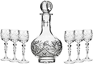 GIFTS PLAZA Set of 7 16-Oz Hand Made Vintage Cut Crystal Liquor Decanter Set with 6 Sherry Glasses, Russian Crystal Vodka Carafe, Old-fashioned Glassware