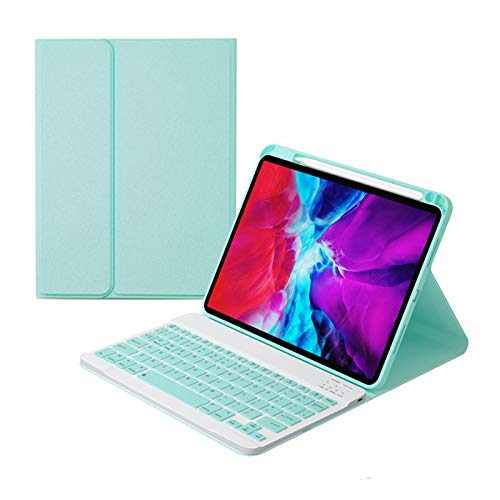 CGGA Funda con teclado Bluetooth para iPad Pro 11 10.5 2018 2020 Air 3 Air 4 Smart Case con teclado inalámbrico (color verde claro, tamaño: para iPad 10.2)