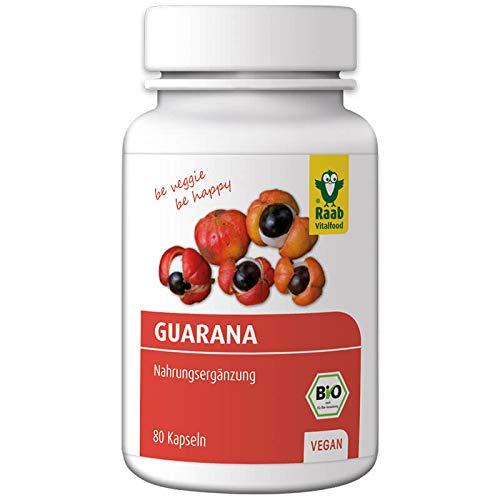 Raab Vitalfood Bio Guarana-Kapseln, Premium aus 100% Guarana-Samen aus Brasilien, 80 Stück, vegan, natürliches Koffein, 1er Pack (40 g)