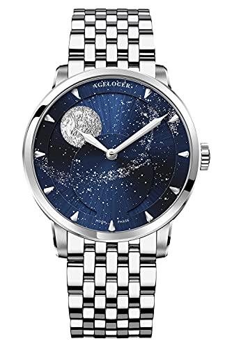 Agelocer Reloj de los hombres Top Marca Azul Luna Fase Mecánica Masculina Moda Lujo Muñeca Acero Inoxidable, Nk_6401f9,