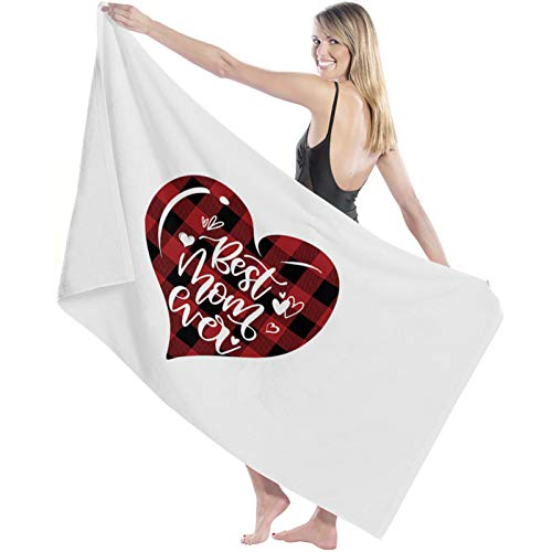 """COLORSUM Super Soft Bath Towels Mother's Day Love Red Plaid Best Mom Ever Extra Absorbent and Fast Drying Bath Towels,Quality Machine Wash Bathroom,Beach Towel 27""""×55"""""""