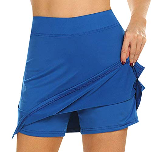 Damen Skort Mini Rock High Waist Bleistift Kurze Röcke Golf Tennis Dehnbar Einfarbig Sportrock Fitness Sport Yoga Sommerrock mit Rock und Shorts in Einem