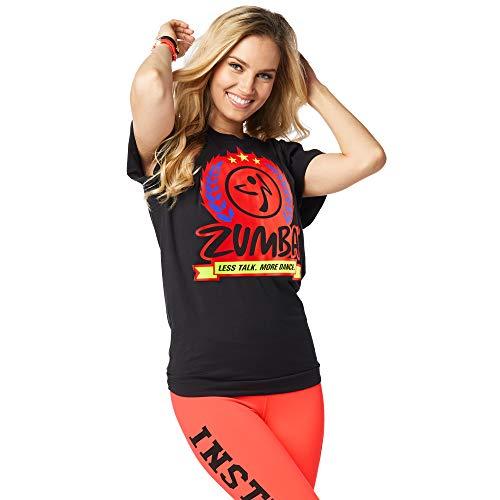 Zumba Atmungsaktiv Fitness Schwarz Unisex Workout Bedruckte Grafik T Shirt für Frauen und Männer, Bold Black B, Medium/Large