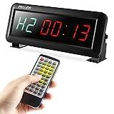 PELLOR Orologio da Parete Palestra Gym Timer, 4/6 Digits Orologio a Interval LED, Formato Orario 12/24 Ore, Cronometro Timer, Palestra Crosstraining Orologio con Telecomando