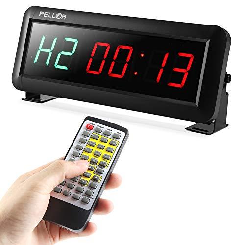 PELLOR Temporizador con Pantalla LED, Reloj de Pared 6Dígitos LED Temporizador de Intervalos, Reloj en Tiempo Real de 12/24 Horas, Gym Temporizador con Mando a Distancia por Infrarrojos