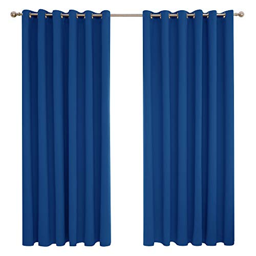 Deconovo Cortinas de Salón Habitacion Opacas Térmicas Aislantes Dormitorio para Habitacion Moderna con Ojales 2 Piezas 229 x 274 cm Azul Oscuro
