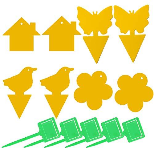 Trampa Insectos Pegajosa Amarilla Etiqueta Engomada Adhesivo Moscas Trampas Adhesivas de Doble Adhesivos Amarillos Enchufe Pegatinas Pegajosas Pegajoso de Papel Fruta para Plantas en Macetas de Jardín