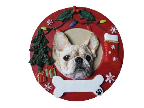 French Bulldog Christmas Ornament White Wreath Shaped Easily Personalized Holiday Decoration Unique French Bulldog Lover Gifts