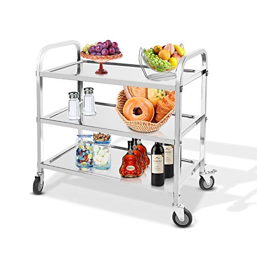 Cateringvagn 3 nivåer kök serveringsvagn rostfritt stål servering catering rensande vagn på hjul förvaringsvagn med låshjul för hotell restaurang och hem 85 × 45 × 90 cm