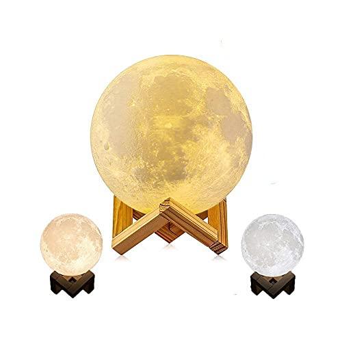 Led Proyector Estrellas Luz de noche LED Imprimir 3D Lámpara de luna recargable Color Cambio de color Toque Niños S Lights-2 colores_8cm