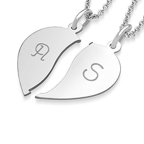 Amoonic Freundschaftsketten Partnerketten Silber 925 Gravur Buchstaben Initialen Herzkette für Paare Freundinnen Zwei Hälften teilbar zweiteilig doppelt zum Teilen FF76-5 SS92545