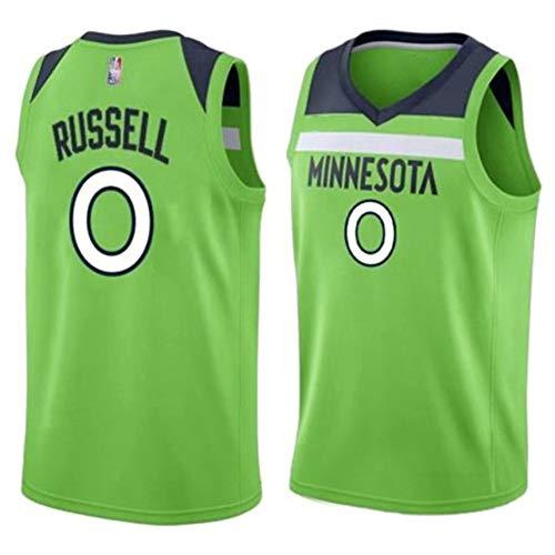 Herren-Basketballtrikot MIN (Minnesota Timberwolves) Trikot Nr. 0 (D'Angelo Russell) atmungsaktives, schnell trocknendes, ärmelloses Sportwestenoberteil xs-XXL-L-Green