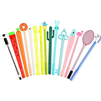 15 Pieces Cute Cartoon Gel Ink Pens Assorted Style Black Ink Writing Pens for Home Office School Party Girls Kids Boys Present 15 Styles