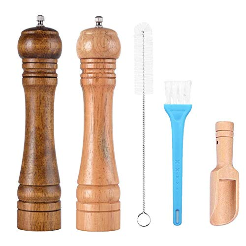 Allpdesky 2 Pack 8 Inches Pepper Grinder Set and Pepper Mills Shakers with Cleaning Brush, Wood Pepper Mills, Shaker with Ceramic Core